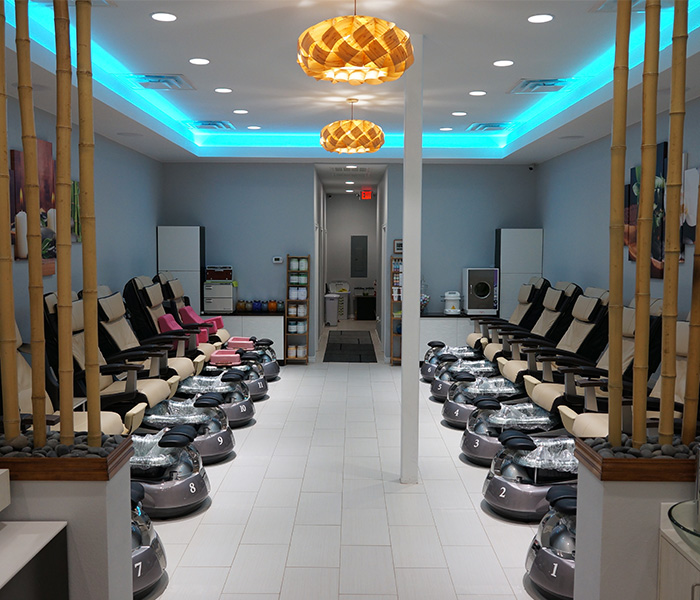 Our brand new pipeless spa pedicure chairs with Human Touch Massage. Liners are changed after each client to ensure no cross contamination.